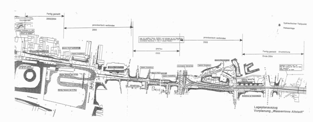 Lageplan Wasserrinne - ursprünglicher Entwurf